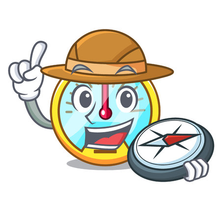 Explorer speedometer isolated with in the mascot vector illustration
