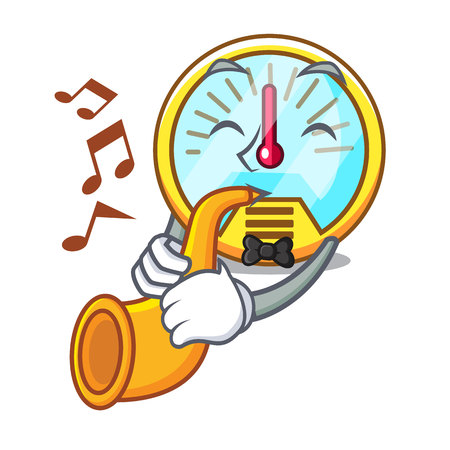 Con velocímetro de trompeta aislado en la ilustración de vector de mascota