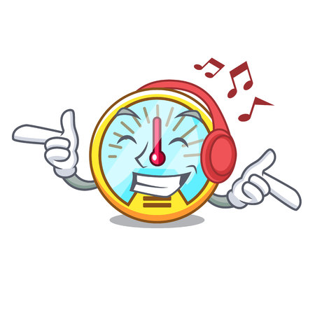 Listening music speedometer isolated with in the mascot vector illustration