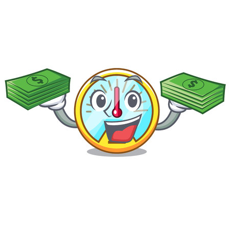 With money bag speedometer isolated with in the mascot vector illustration
