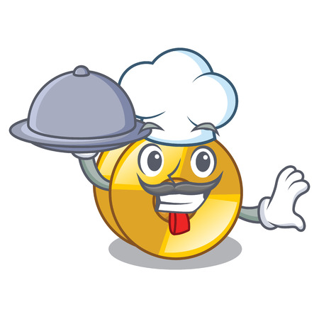 Chef with food cyamblas above in the character drum vector illustration