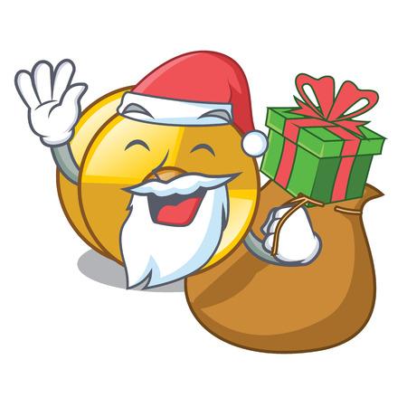 Santa with gift cyamblas miniature in the cartoon shape vector illustration