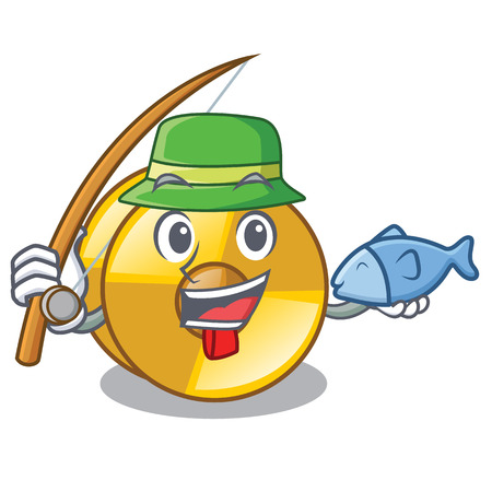 Fishing cyamblas above in the character drum vector illustration Illustration