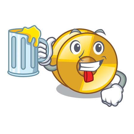 With juice cyamblas above in the character drum vector illustration