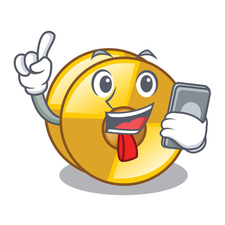 With phone cyamblas in the a cartoon shape vector illustration Illustration