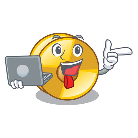 With laptop cyamblas in the a cartoon shape vector illustration Illustration