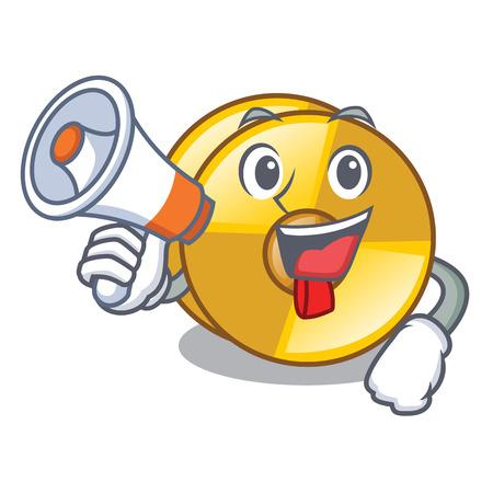 With megaphone cyamblas in the a cartoon shape vector illustration Ilustração