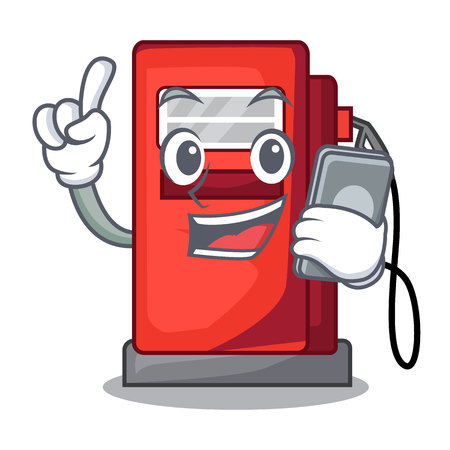 With phone gosoline pump in the character form vector illustration Stock Illustratie