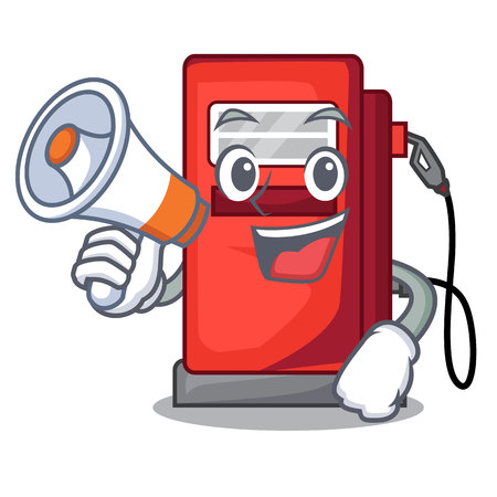 With megaphone gosoline pump in the character form vector illustration