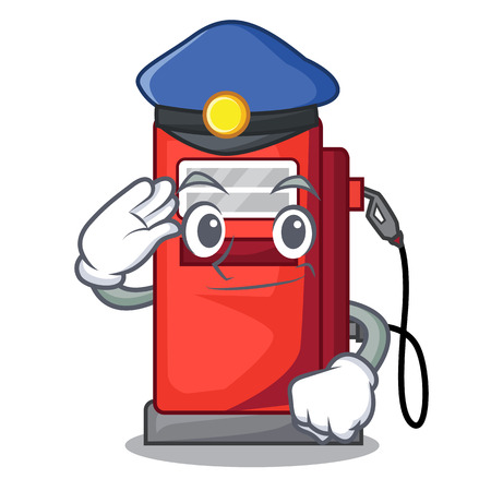 Police gosoline pump in the character form vector illustration Stock Illustratie