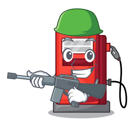 Army gosoline pump in the character form vector illustration