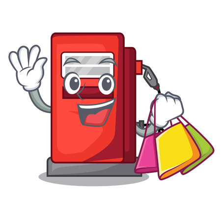 Shopping gosoline pump isolated in the mascot vector illustration Illustration