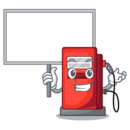 Bring board gosoline pump in the character form vector illustration