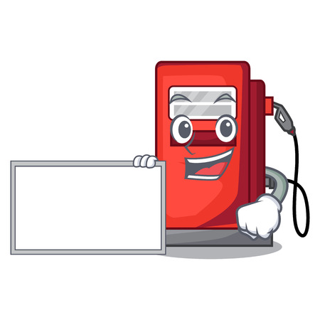 With board gosoline pump in the character form vector illustration