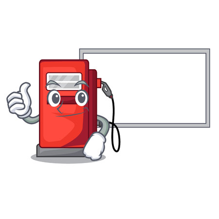Thumbs up with board gosoline pump in the character form vector illustration Illustration