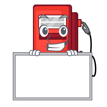 Grinning with board gosoline pump in the character form vector illustration
