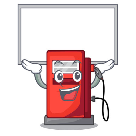 Up board gosoline pump in the character form vector illustration