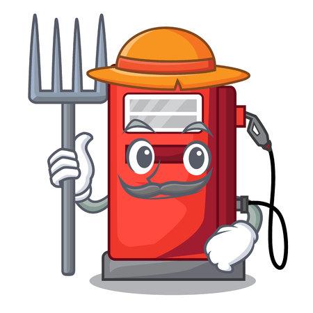 Farmer gosoline pump in the character form vector illustration Illustration
