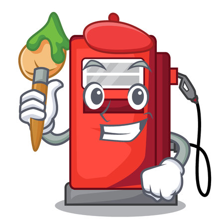 Artist gosoline pump in the character form vector illustration