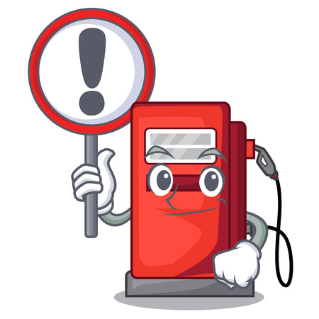 With sign gosoline pump in the character form vector illustration Illustration