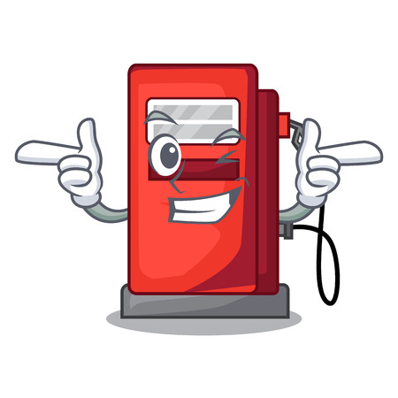 Wink gosoline pump isolated in the mascot vector illustration
