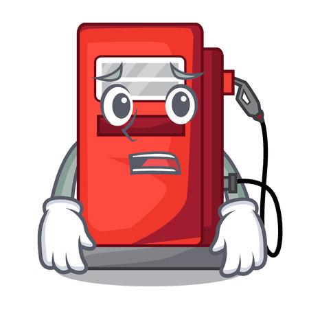 Afraid miniature gasoline pumps in cartoon shape Illustration
