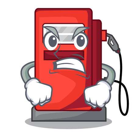 Angry miniature gosoline pumps in cartoon shape vector illustration Illustration