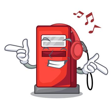 Listening music miniature gosoline pumps in cartoon shape vector illustration