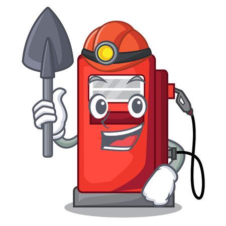 Miner miniature gosoline pumps in cartoon shape vector illustration