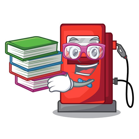 Student with book gosoline pump front the cartoon house vector illustration
