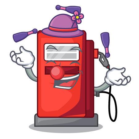 Juggling gosoline pump front the cartoon house vector illustration