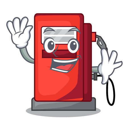 Waving gosoline pump isolated in the mascot vector illustration Imagens - 124931173