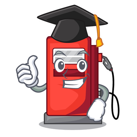 Graduation gosoline pump isolated in the mascot vector illustration