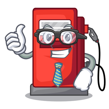 Businessman gosoline pump isolated in the mascot vector illustration