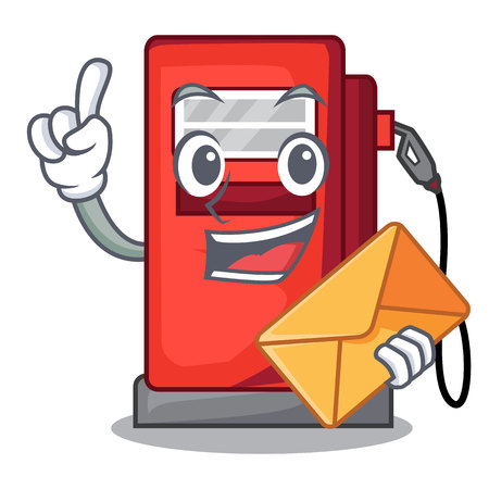 With envelope gosoline pump isolated in the mascot vector illustration Illustration