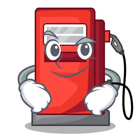 Smirking gosoline pump isolated in the mascot vector illustration