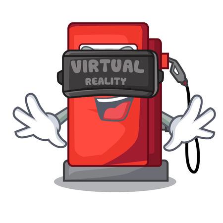 Virtual reality miniature gosoline pumps in cartoon shape vector illustration Illustration