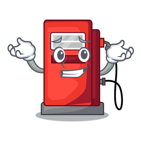 Grinning gosoline pump isolated in the mascot vector illustration