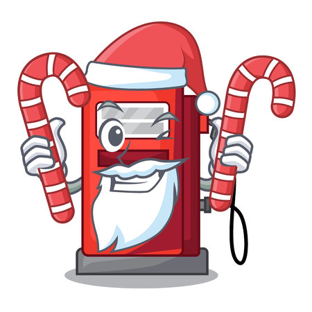 Santa with candy gosoline pump front the cartoon house vector illustration