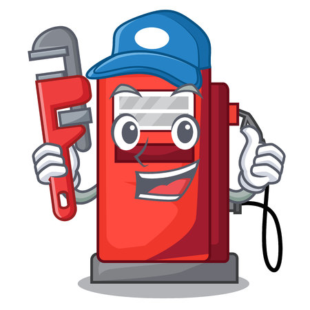 Plumber gosoline pump front the cartoon house vector illustration Illustration