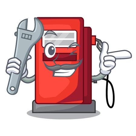 Mechanic gosoline pump front the cartoon house vector illustration