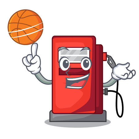 With basketball gasoline pump in the character form vector illustration