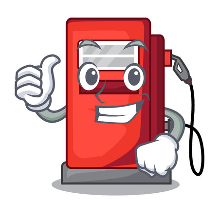 Thumbs up gosoline pump isolated in the mascot vector illustration