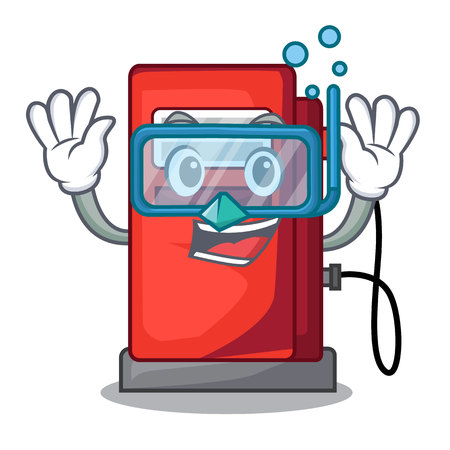 Diving gosoline pump isolated in the mascot vector illustration