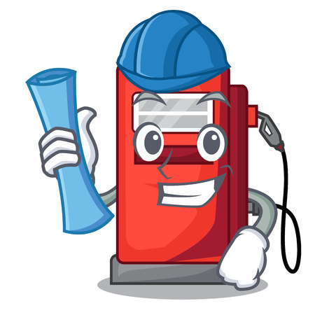 Architect gosoline pump isolated in the mascot vector illustration
