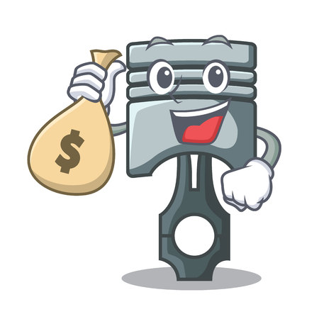 With money bag piston in the form of mascot vector illustration Фото со стока - 124886863