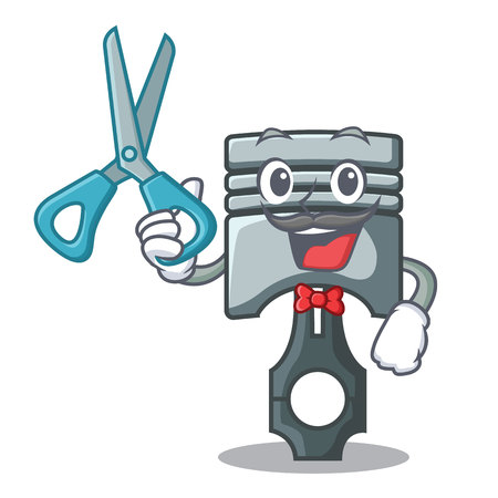 Barber piston in the form of mascot vector illustration Фото со стока - 124886866
