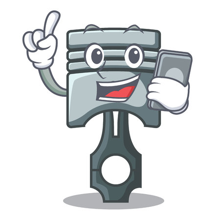 With phone piston in the form of mascot vector illustration Фото со стока - 124886877