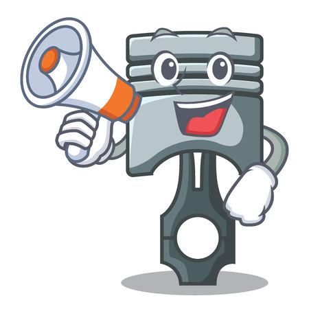 With megaphone piston in the form of mascot vector illustration Ilustração
