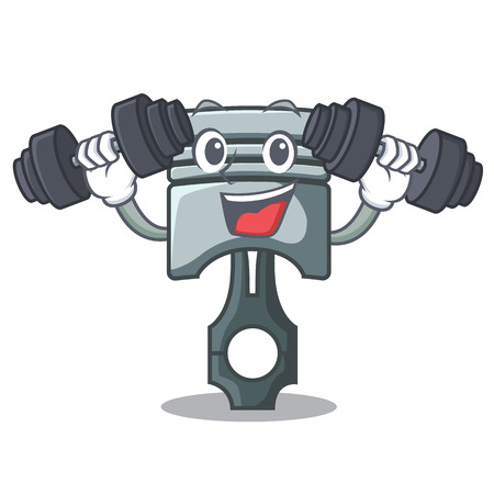 Fitness piston in the form of mascot vector illustration Çizim